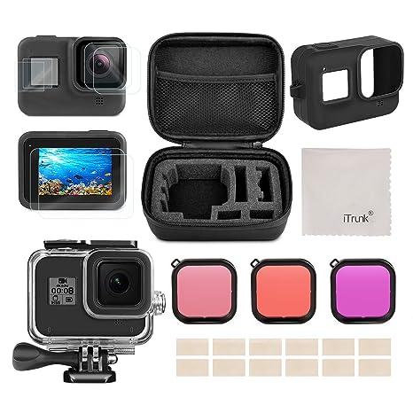 Kit d\u0027accessoires pour GoPro Hero 8, iTrunk 23 in 1 Antichocs Petit Boîtier  Pack Protecteur d\u0027écran boîtier étanche Filtre Rouge pour GoPro Hero 8