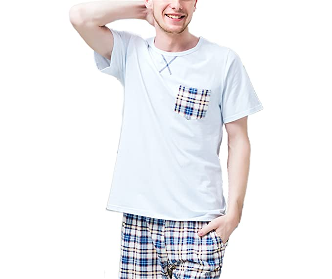 4316c21a854a Wigeo New Summer Mens Pajamas Sets Suits Soft Cotton Sleepwears Male Short- Sleeve 2 Piece