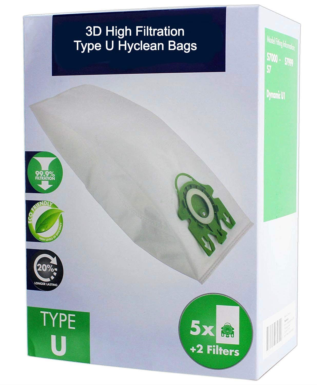 Deals365 Confezione da 10 - Sacchetti 3D Hyclean a U per aspirapolvere Miele Serie S7 TM S7000 S7210 S7260 S7280 S7580 S7510 S7000