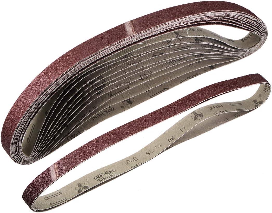 Sanding Belt 40 Grit Aluminum Oxide 12pcs 25mm X 1070mm sourcing map 1-inch X 42-inch