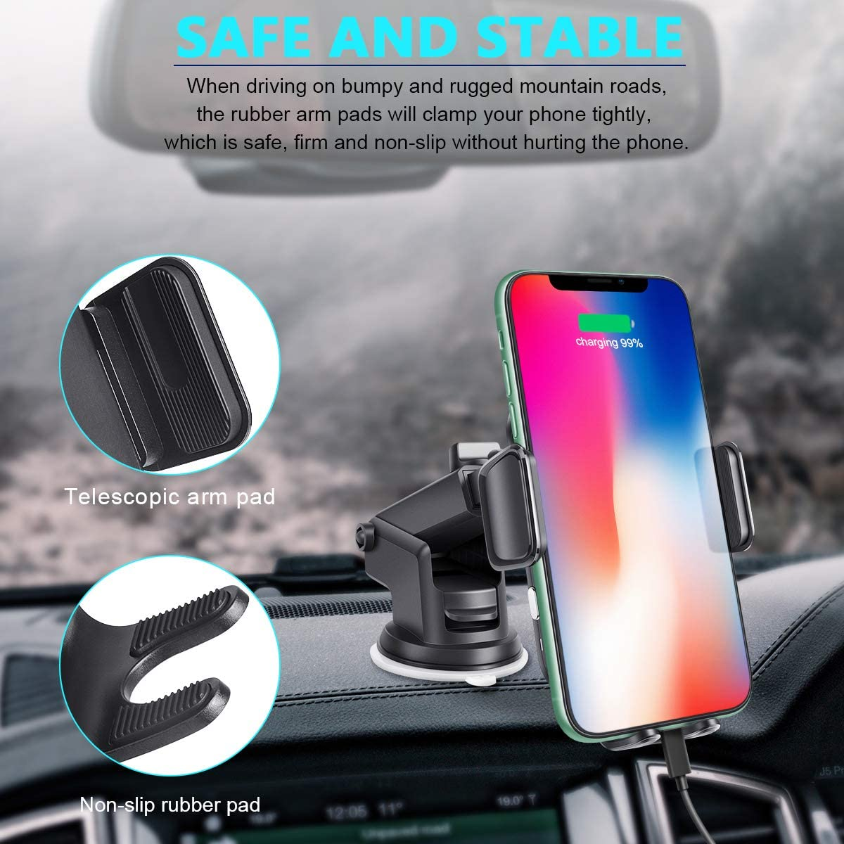 Wireless Car Charger,15W Qi Fast Charging Auto-Clamping Car Phone Mount,Windshield Dash Air Vent Phone Holder Compatible with iPhone 11//11 Pro//11 Pro Max//Xs MAX//XS//XR//X//8//8+,Samsung S10//S10+//S9//S8+
