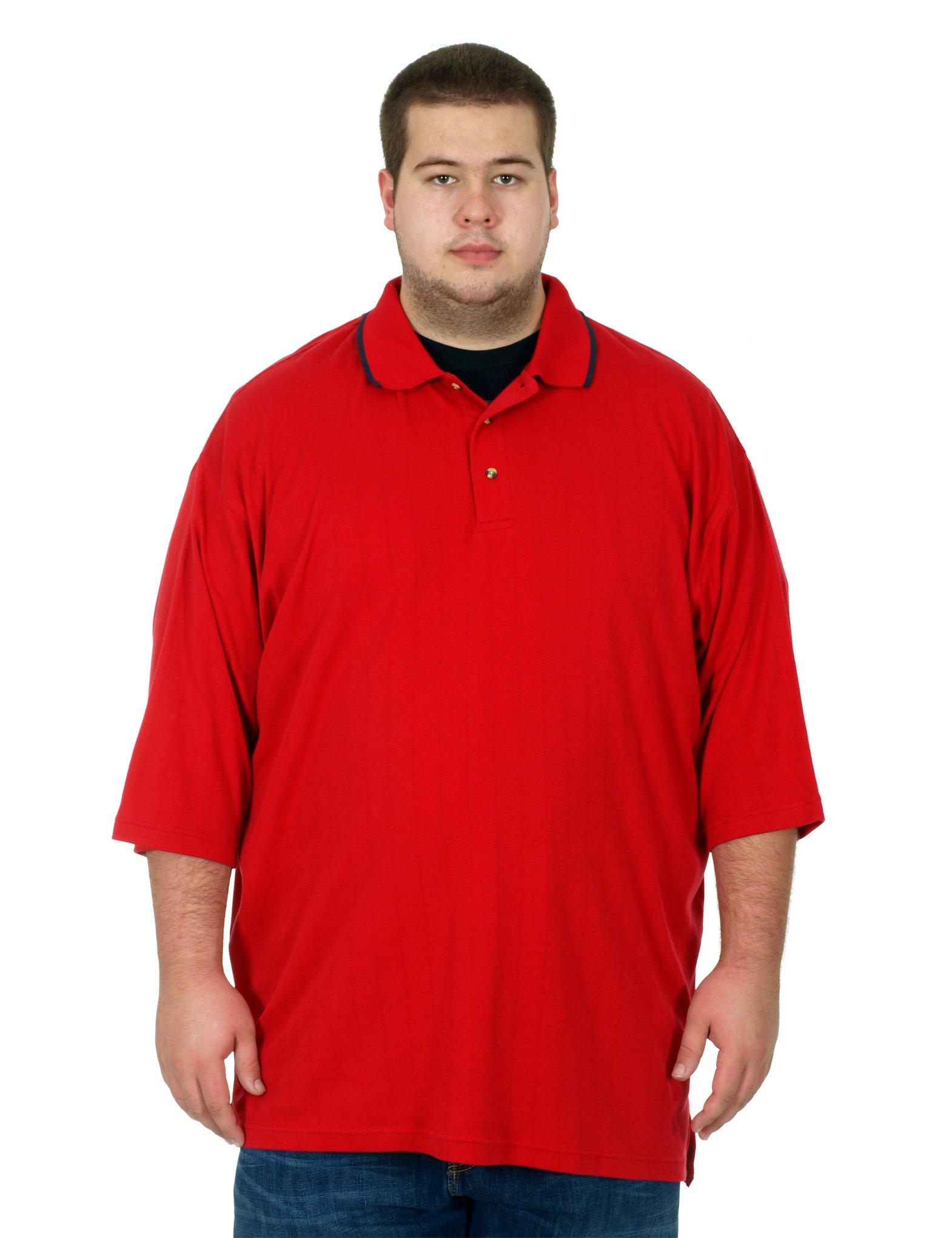 Tri-Mountain Men's Big & Tall Short Sleeve Polo Shirt (5XLT, Red-Navy)