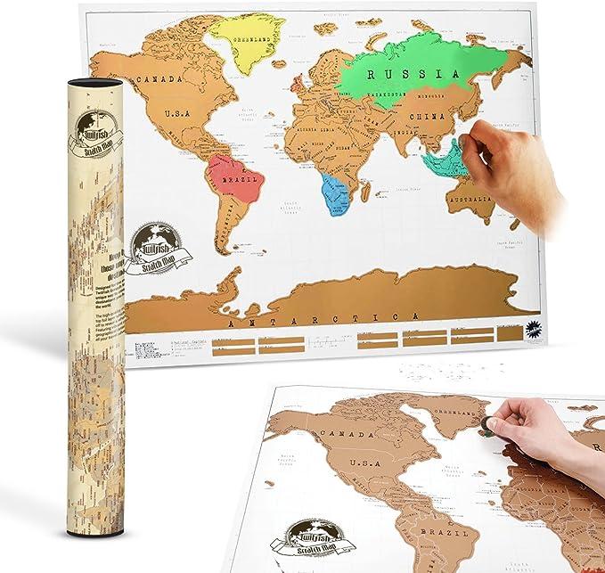 Twitfish® - Mapa Mundial Viajes Personalizado para Marcar Dónde Has Estado/Viajado: Amazon.es: Juguetes y juegos