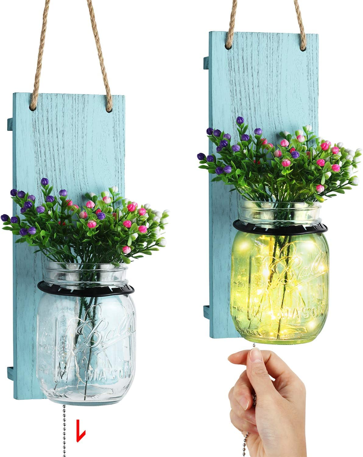 TJ.MOREE Decorative Mason Jar Sconce, Coastal Style Wall Sconce with Pull Chain Switch, Seasonal Interchangeable Colorful Flowers and LED Strip Lights Design for Farmhouse Home Decor Set of 2 - Blue