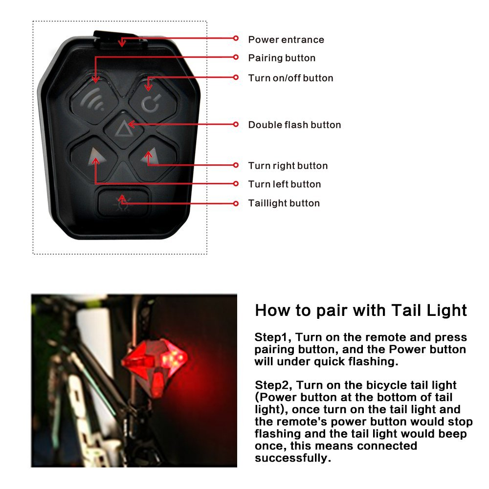 Bike Tail Light USB Rechargeable with Turn Signal, Remote Control for Safe Riding Super Bright Bicycle Tail Lights 4 Modes of Flashing with Alarm Sound for Road Bike, Mountain Bicycles by Tohsssik (Image #2)