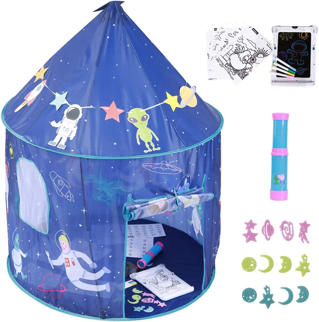 Colorhome Playhouse for Kids Indoor Boys Tent, with Toys Girls Play House Toddler Tents Outdoor Castle Children Fort Storage Carry Bag