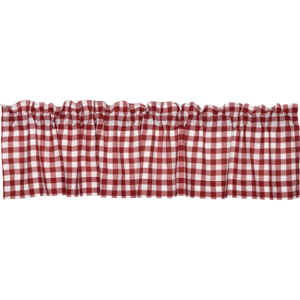 """VHC Brands Classic Country Farmhouse Kitchen Window Curtains-Buffalo Check Red Valance 16"""" x 72"""""""