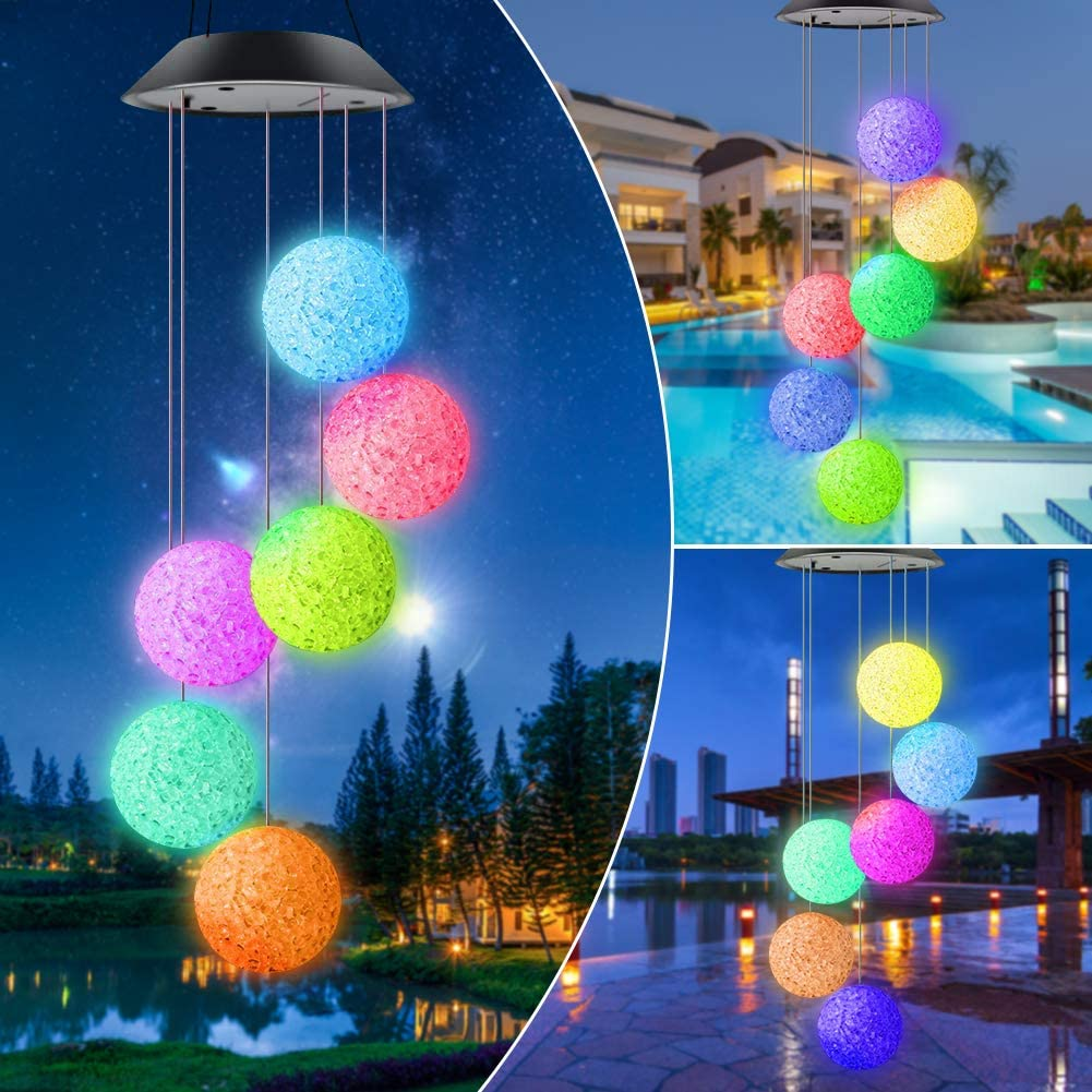 Garden Wind Chimes Outdoor, Color Changing Hummingbird Wind Chime Waterproof Solar Mobile Wind Chime Outdoor Mobile Hanging Patio Light for Patio Yard Garden Home, Best Gifts for Mom Christmas
