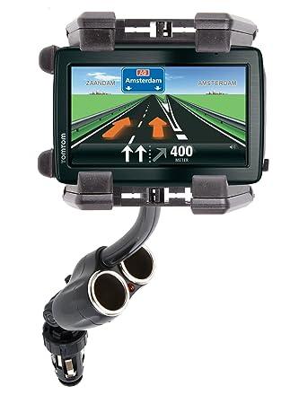 DURAGADGET Soporte con Adaptador De Cargador De Coche para Navegador GPS Tomtom Via Live 120 / Tomtom Urban Rider