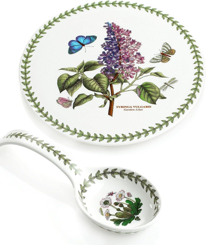 """Portmeirion Botanic Garden Spoon Rest & Trivet Gift Set, 9"""", 9"""", White"""