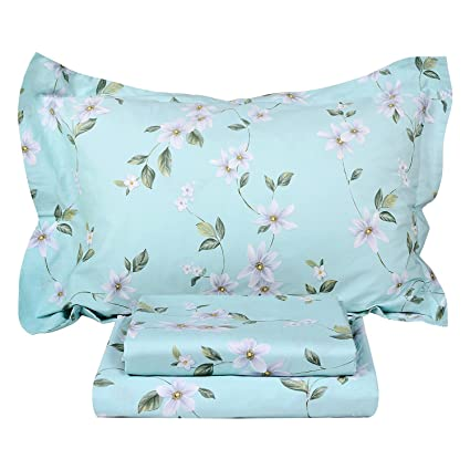 FADFAY Shabby Pink Floral Bed Sheet Set 100% Cotton Deep Pocket 4-Piece Twin Extra Long Size Kids' Furniture, Décor & Storage Kids' Bedding