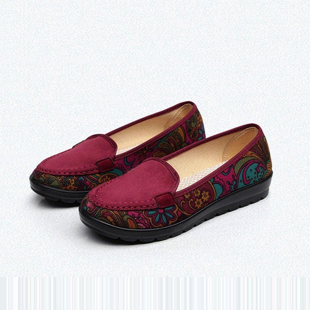 Zapatos Solos Ocasionales de Las Mujeres 2018 Primavera, Verano, Caída Nuevos Zapatos de Las Mujeres Zapatos de Las Talones de la Sola Talón del Estilo Nacional Zapatos (Color : Rojo, Tamaño : 41) 41