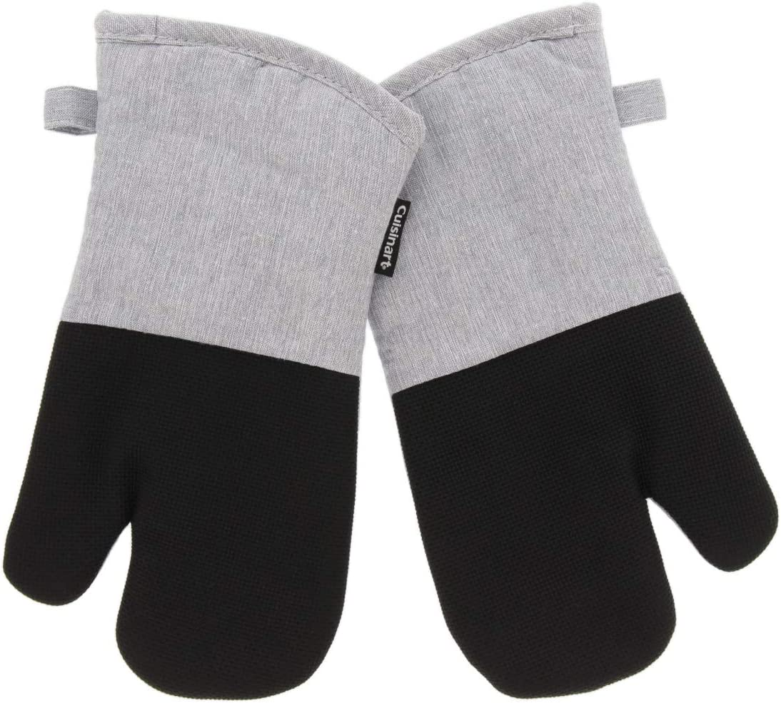 Cuisinart Neoprene Oven Mitts, 2pk -Heat Resistant Oven Gloves to Protect Hands and Surfaces with Non-Slip Grip and Hanging Loop-Ideal Set for Handling Hot Cookware, Bakeware- Light Grey