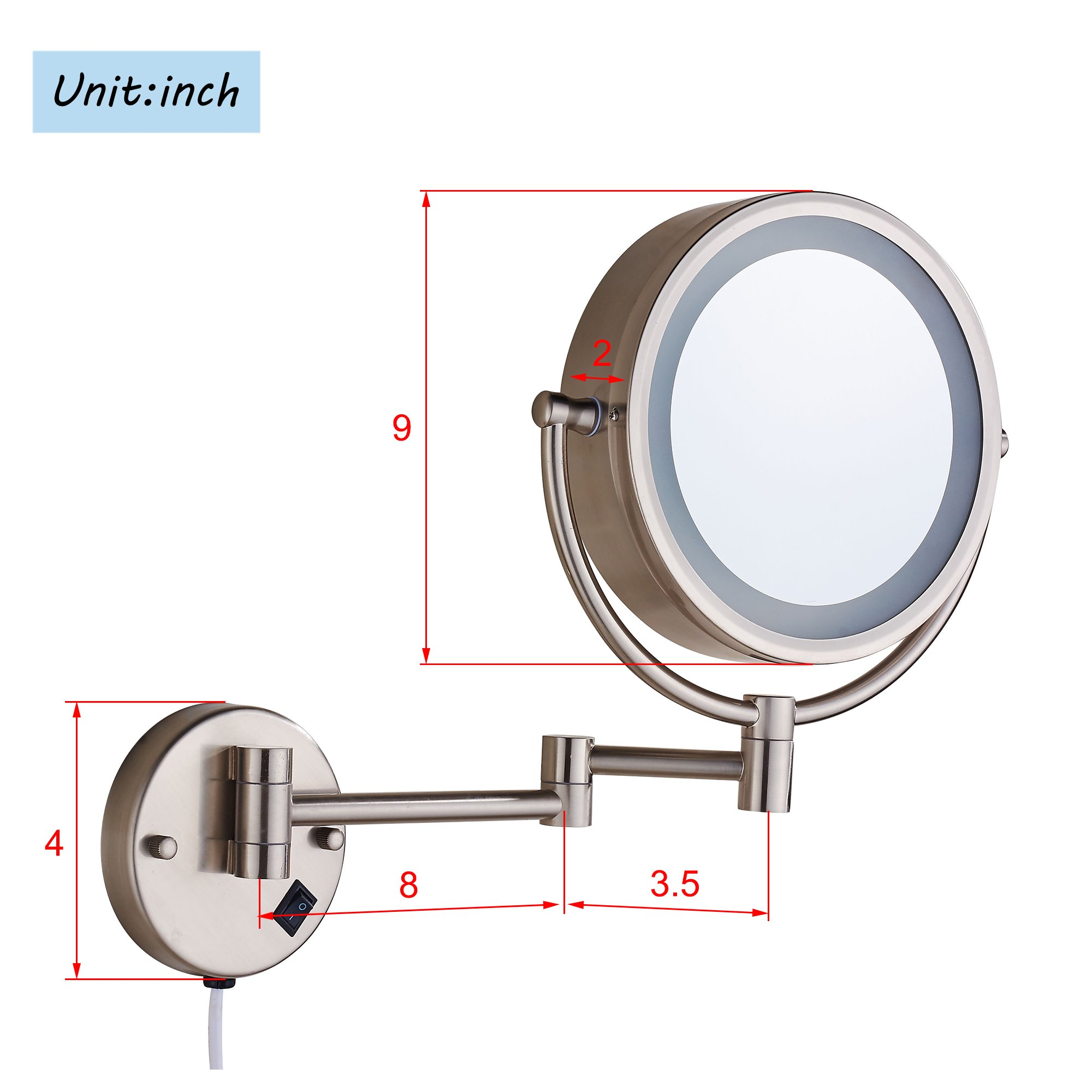 Cavoli Makeup Mirror With Led Lighted Wall Mounted 10x