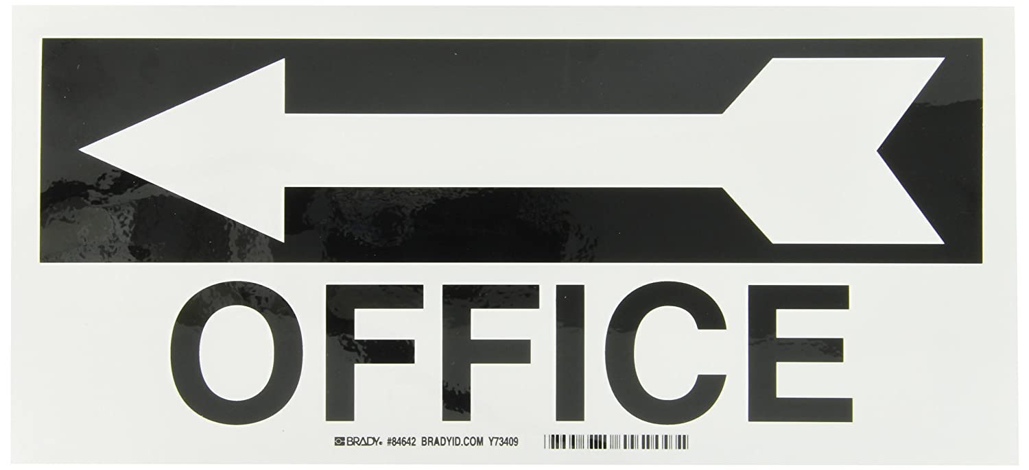 Office Brady 84642 Self Sticking Polyester Directional Sign with Picto Legend 6.500 X 14