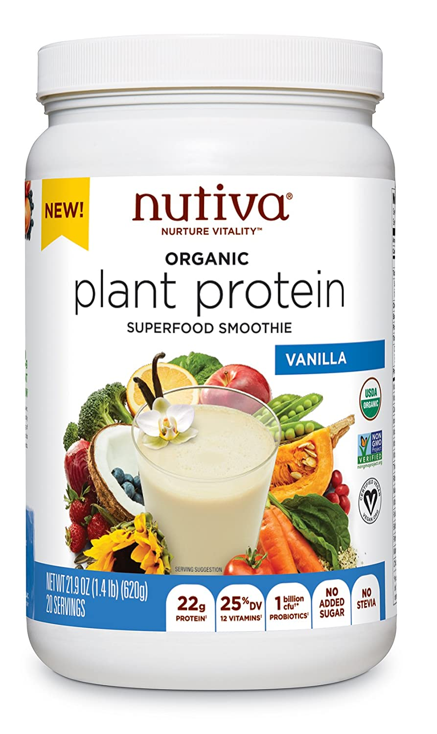 Nutiva Plant Protein Superfood for Shakes and Smoothies, Vanilla, 1.4-pound