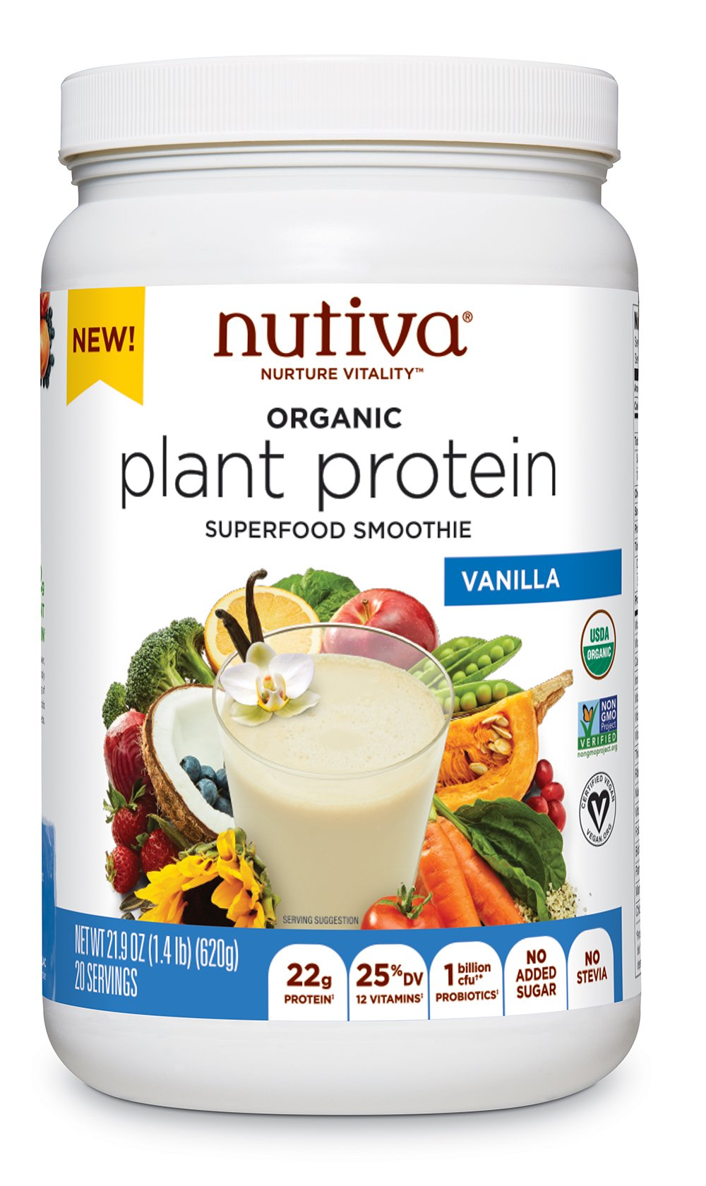 Nutiva Plant Protein Superfood for Shakes and Smoothies, Vanilla, 1.4-pound by Nutiva