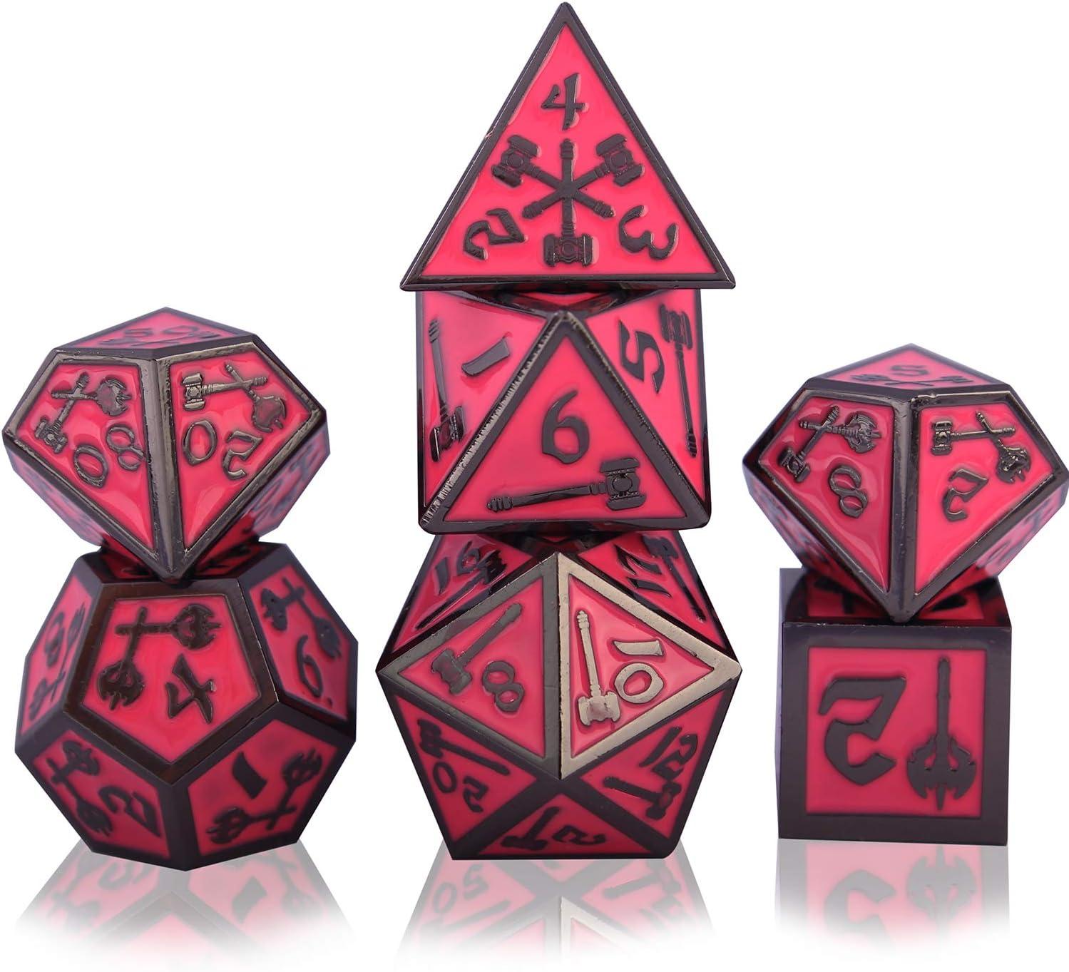 Metall Dnd Würfel Set D D 7 Teilig D20 D12 D10 D8 D6 D4 Für Dungeons Und Dragons Ttrpg Spiele Rpg Dice Gaming D D Mathematik Lehre Black Nickel Red Amazon De Küche Haushalt