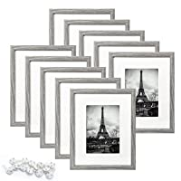 upsimples 8x10 Picture Frame Set of 10,Display Pictures 5x7 with Mat or 8x10 Without...