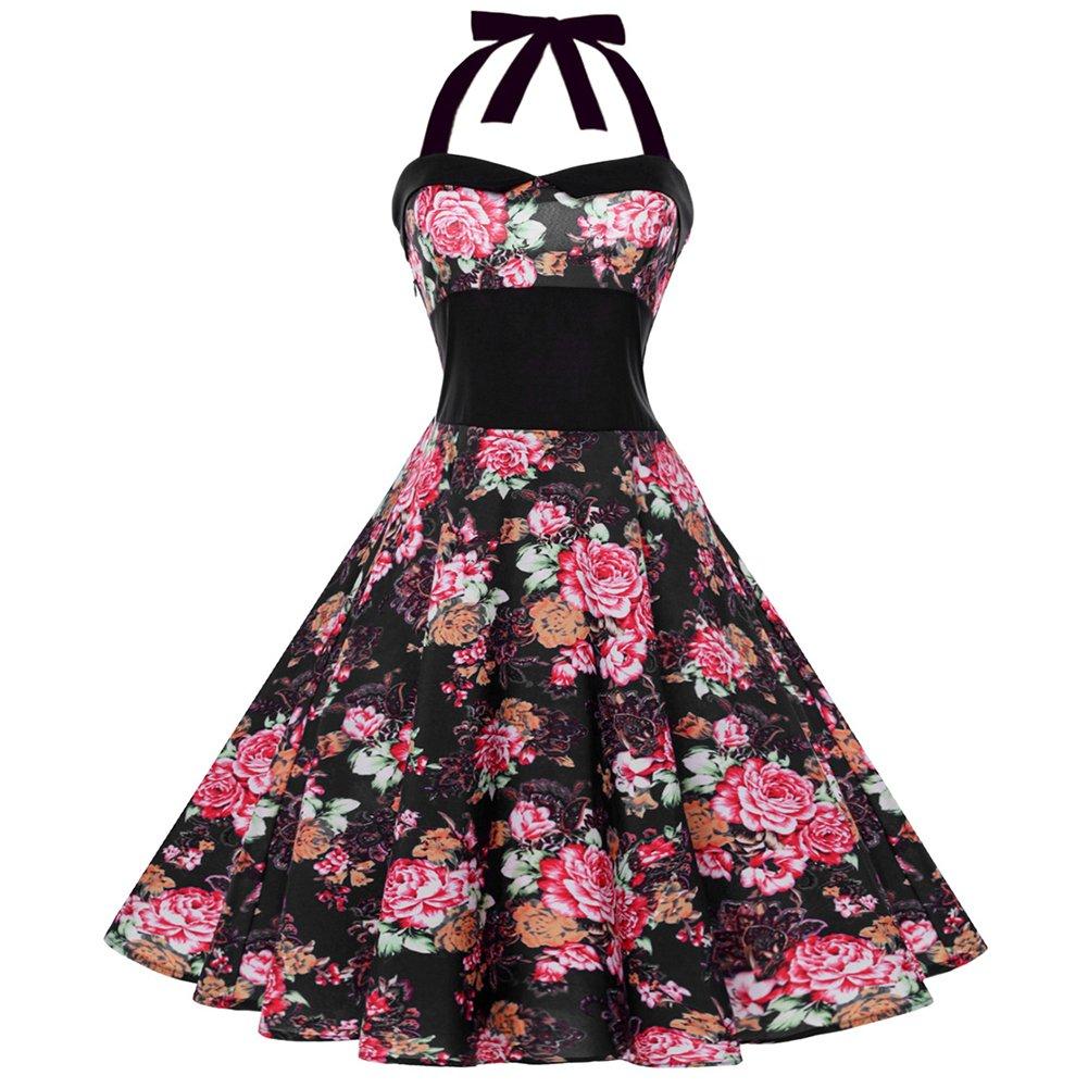 iShine Neckholder Kleider Damen Polka dots Kleider Rockabilly Faltenrock Sommerkleid damen Abendkleider Partykleider Cocktailkleider Knielang