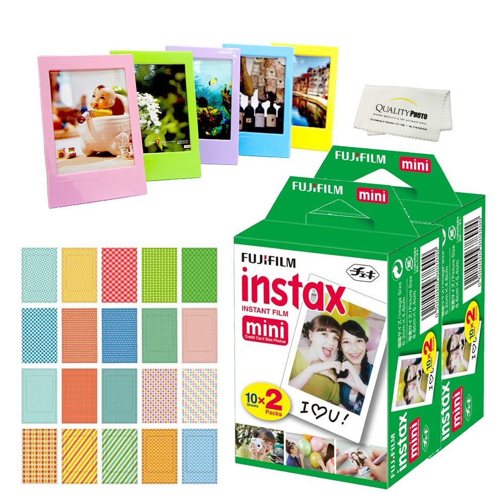 Fujifilm Instax Mini Instant Film (4 Pack = 40 Sheets) for Fujifilm Mini 9 or Mini 8 Camera + 5 Colored Frames + 20 Assorted Colorful Sticker Frames + Microfiber Cloth by Quality Photo by Fujifilm