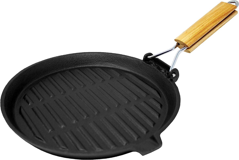 Big BBQ de parrilla y carne–Sartén de hierro fundido (22cm) con mango fijo o plegables, madera, #4 Rund- Klappgriff