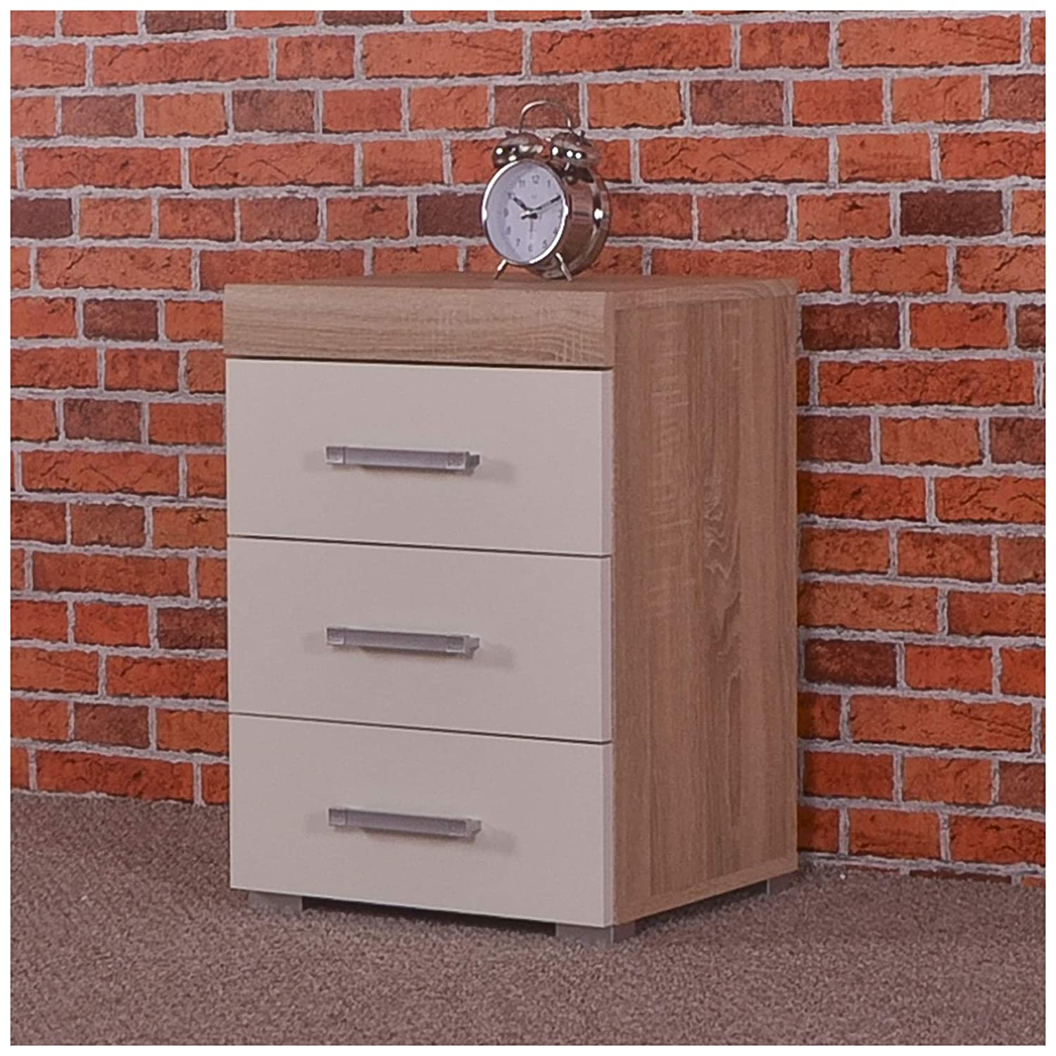 3 Drawer White & Sonoma Oak Bedside Cabinet/Table (3 Draw Chest) Bedroom Furniture DRP Trading