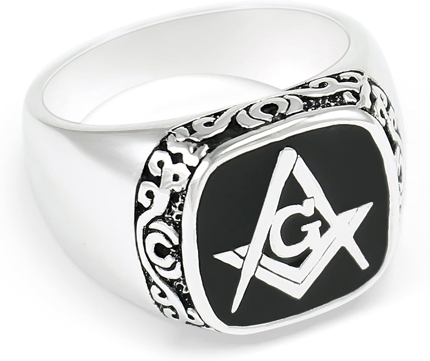 Masonic Sterling Silver Ring with Black Square /& CompassFreemasonry Gifts