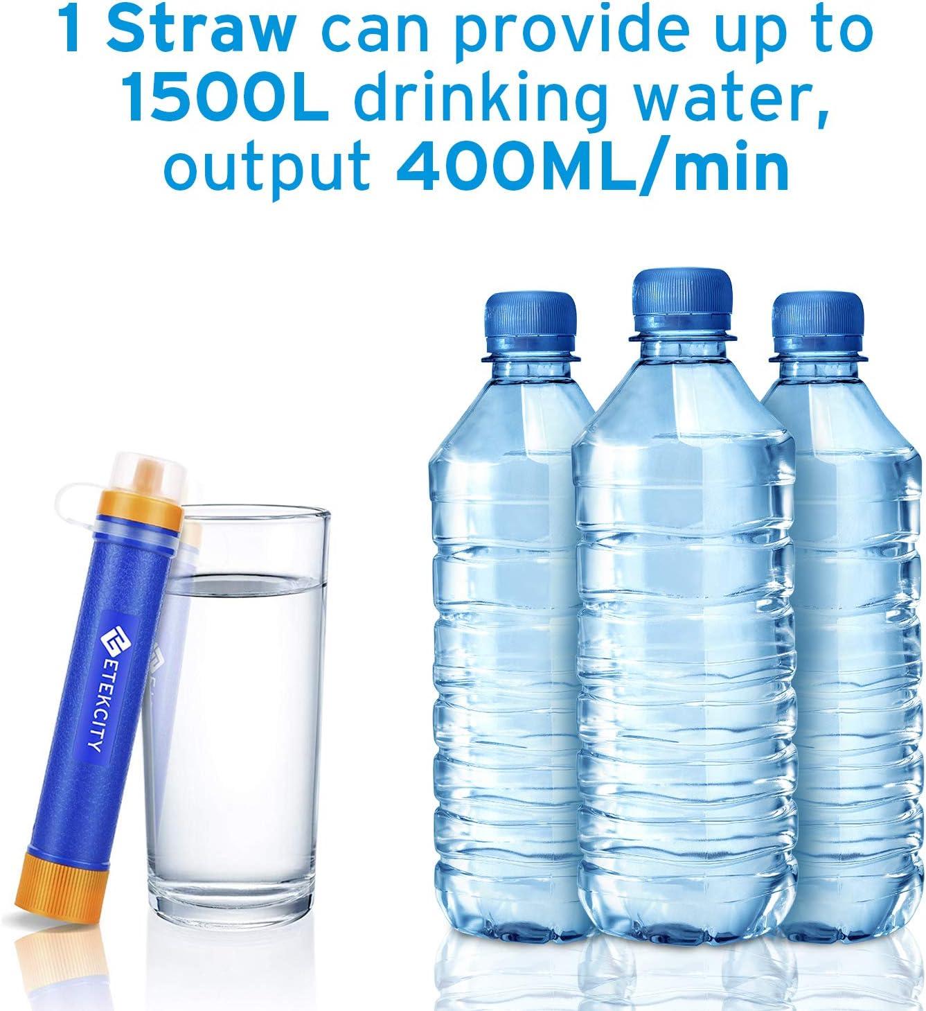 ETEKCITY Filtro de Agua portátil Paja de filtración purificador ...