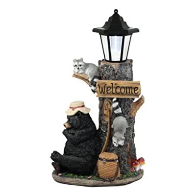 Ebros Summer Naps Whimsical Forest Lazy Bear with Raccoon Friends Welcome Sign Outpost Statue with Solar LED Light Lantern : Garden & Outdoor