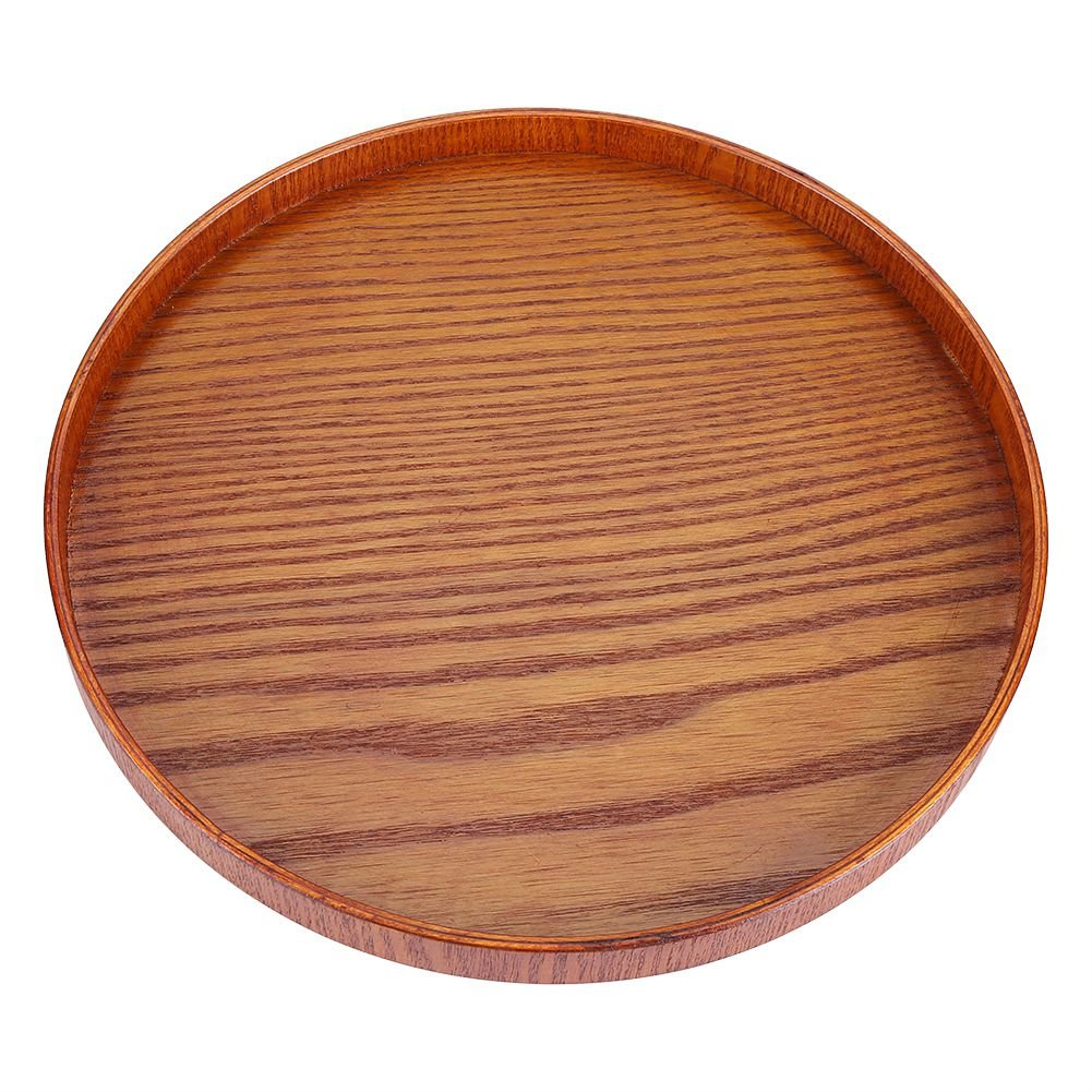 Asixx Serving Tray, Wooden Round Serving Tray for Tea Water Drinks Dishes(24CM)