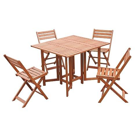 Juego BALI con 1 mesa y 4 sillas plegables de madera tratada ...