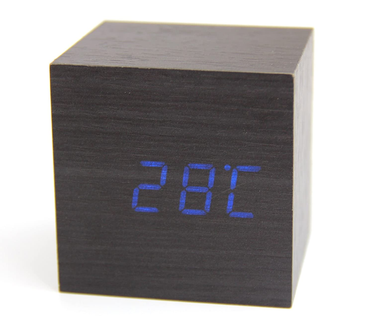 Voice and Touch Activated RayLineDo Latest Design Fashion Black Wood Cube Mini Blue LED Wooden Digital Alarm Clock Time Temperature Date Display