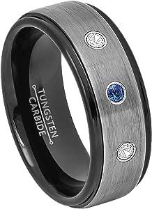 0.21ctw Blue Sapphire & Diamond 3-Stone Tungsten Ring