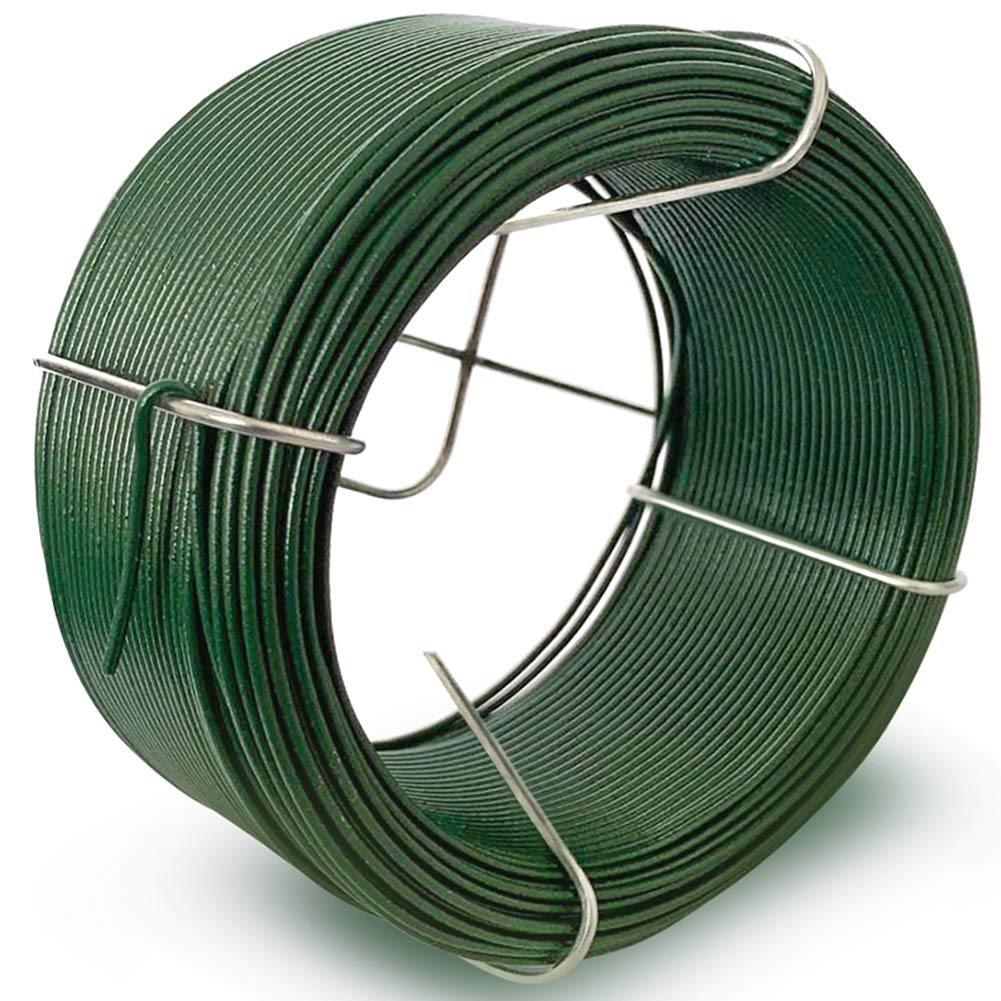 6 x 50M Rollo de Alambre Recubierto /Ø 1.15 mm Alambre de Jard/ín Esgrima Alambre Inoxidable de PVC Verde