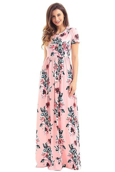 12e7a92e78 HOTAPEI Women's Floral Print Long Dress Short Sleeve Empire Waist Maxi Dress