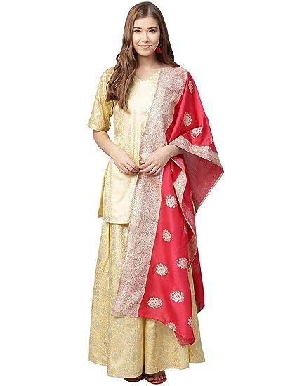 1c675cac1cda8 Ahalyaa Women Yellow   Pink Printed Kurti with Sharara   Dupatta   Amazon.in  Clothing   Accessories