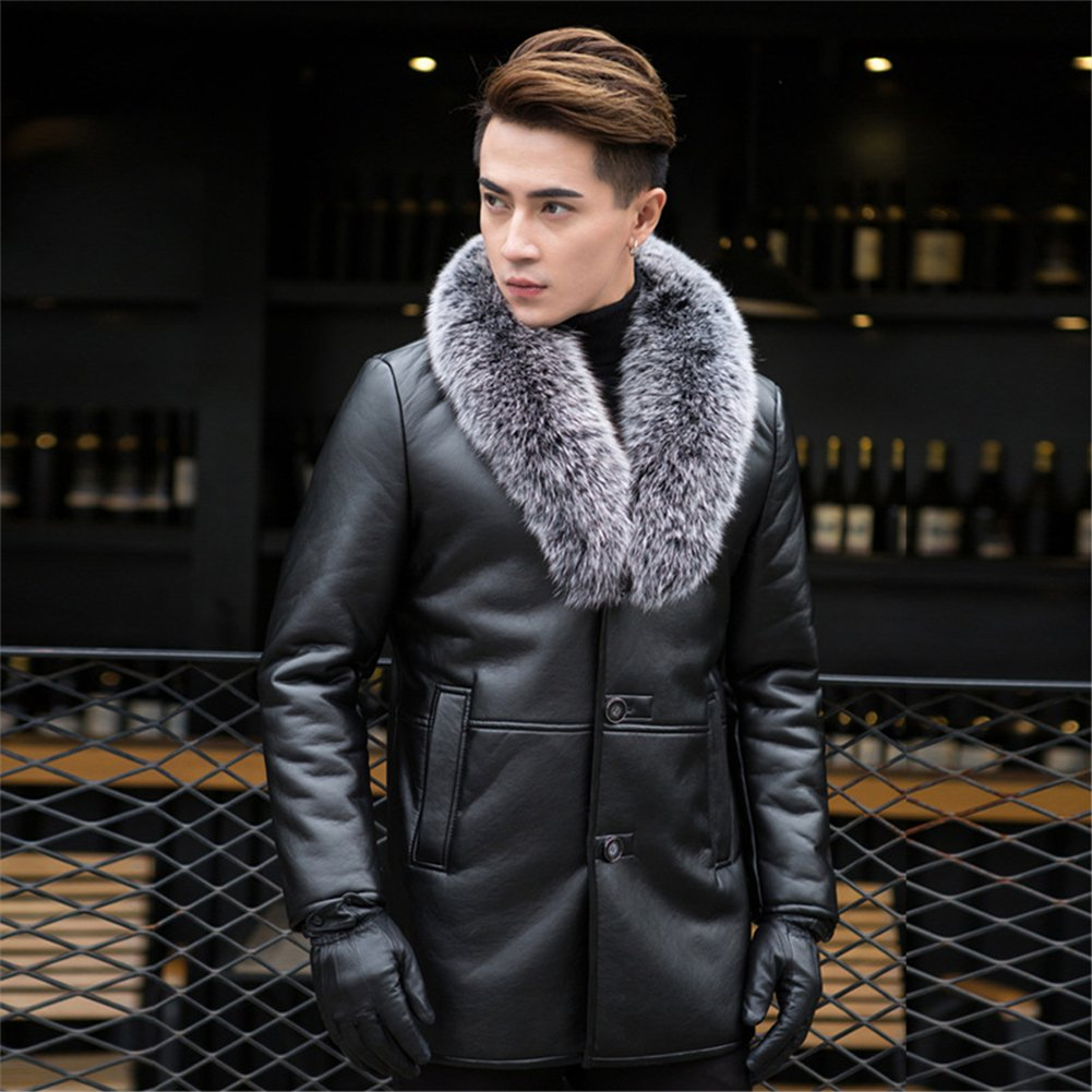 5a4345ad0 K3K Winter Mens High Faux Fur Leather Fashion Removable Fox Fur Collar Long  Coat Wool Lining Thick Jackets at Amazon Men's Clothing store