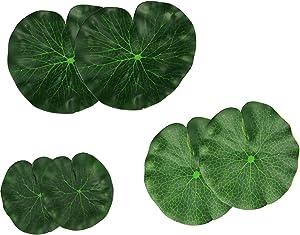 Lightingsky Artificial Floating Foam Lotus Leaves Artificial Foliage Pond Decor Pack of 6 (18cm+15cm+10cm, Pack of 6)