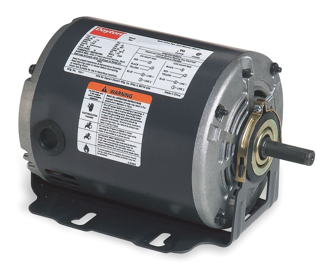 Dayton 6K551 Motor, 1/6 hp, 60Hz, Belt, Degrees_Fahrenheit, to Volts, Amps, (