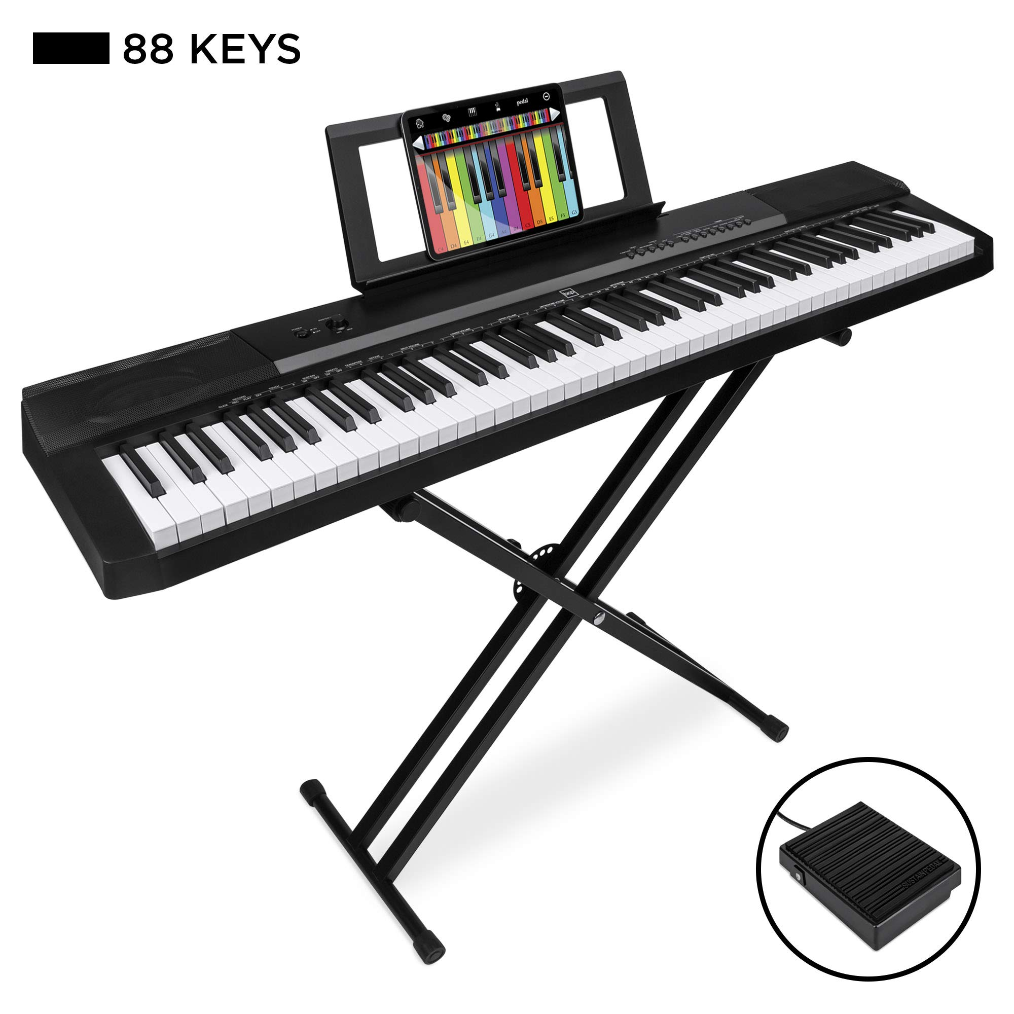 Best Choice Products 88-Key Full Size Digital Piano Electronic Keyboard Set w/Semi-Weighted Keys, Stand, Sustain Pedal, Built-In Speakers, Power Supply, 6 Voice Settings by Best Choice Products