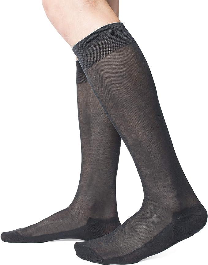 Calcetines largos lisos de gasa 100% algodón hilo Escocia – 6 pares – Fabricado en Italia: Amazon.es: Ropa y accesorios