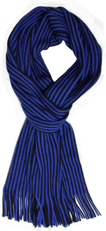 Rotfuchs Sciarpa lavorata a maglia Sciarpa da donna Sciarpa invernale Sciarpa da uomo a righe nero blu 180 x 27 cm Made in Germany