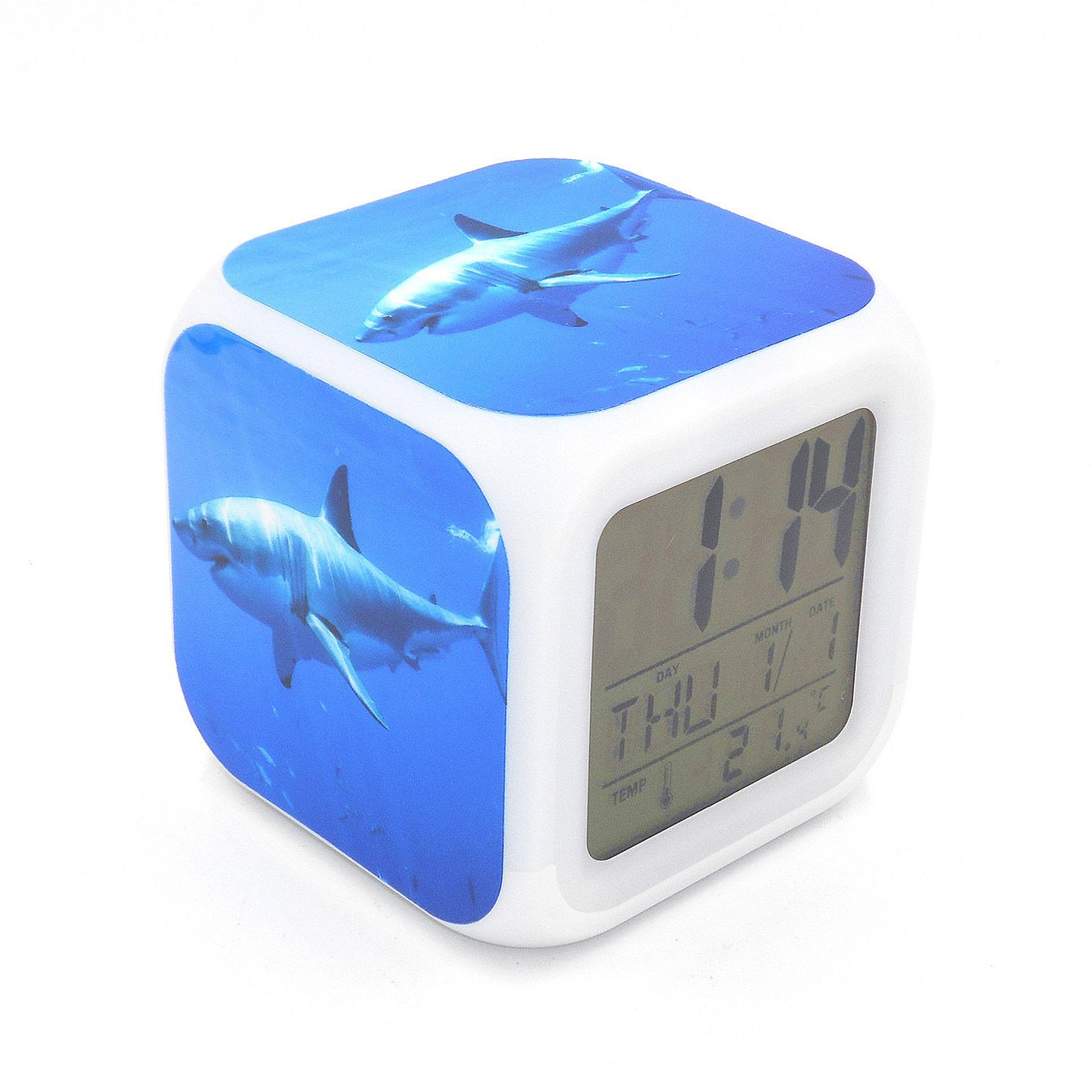 EGS New Great White Shark Ocean Animal Digital Alarm Clock Desk Table Led Alarm Clock Creative Personalized Multifunctional Battery Alarm Clock Special Toy Gift for Unisex Kids Adults