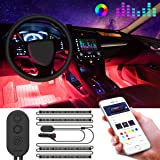 Interior Car Lights, Govee Car LED Strip Light Upgrade Two-Line Design Waterproof 4pcs 48 LED APP Controller Lighting Kits, Multi DIY Color Music Under Dash Car Lighting with Car Charger, DC 12V