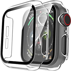 Tauri 2 Pack Hard Case Compatible for Apple Watch SE Series 6 5 4 44mm Built in 9H Tempered Glass Screen Protector Slim Bumper Touch Sensitive Full Protective Cover Compatible for iWatch 44mm - Clear