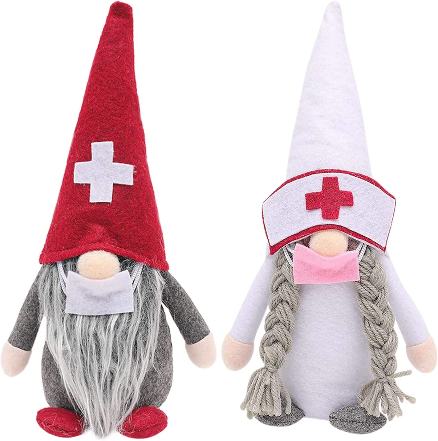 Colorful gourd Christmas Gnome Doll Long hat Doctor Nurse Faceless Christmas Elf Handmade Scandinavian tomte Home Holiday Decorations Party Gifts (A)