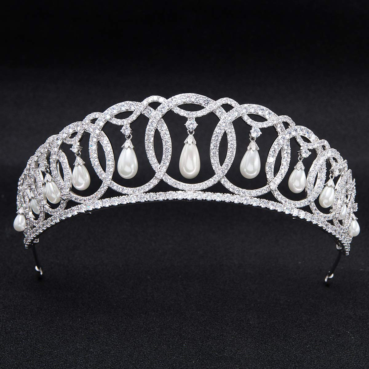 SepBridals Classic Cubic Zirconia CZ Pearls Wedding Bridal Tiara Crown Diadem Women Hair Accessories CH10223 by SEPBRIDALS (Image #3)