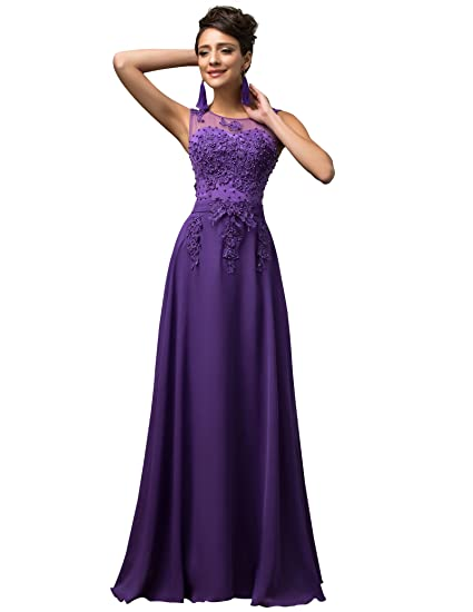 Maxi Chiffon Wedding Bridesmaid Dress A-Line Long Evening Ball Gowns ...