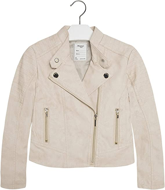 Mayoral Girl Leather Style Biker Jacket In Olive Only £22.90 3463
